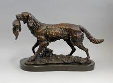 9937841dss Bronze Skulptur Jagdhund apportierend Carvin 47x12x29cm