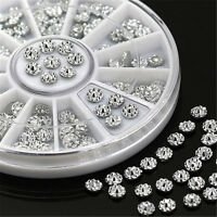 Nail Art Decoration 3D Round Acrylic Studs Crystal Glitter Rhinestones Wheel 4mm