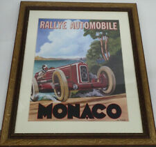 Rallye Automobile Monaco Poster Print Under Glass by Chris Flanagan Wood Frame