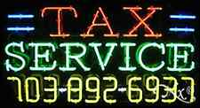 """NEW """"TAX SERVICE"""" W/YOUR PHONE NUMBER 37x20 NEON SIGN W/CUSTOM OPTIONS 15110"""