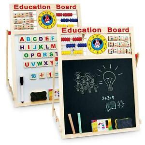 Kids Easel -Wooden 6in1 Blackboard Whiteboard Childrens Drawing Art Chalk Board