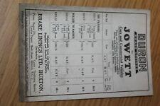 Jowett Cars & Comercial Vehicles Duron Brake Linings Card 1929 - 1935