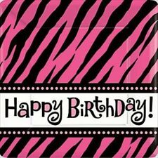 ZEBRA STRIPES Pink and Black LARGE PAPER PLATES (8) ~ Birthday Party Supplies