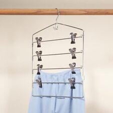 Sturdy 4 Tier Trouser Hanger 8 Clips Metal Skirt Pants Clothes Closet Organizer