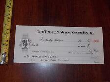 RARE OLD VINTAGE BLANK CHECK TRUMAN MOSS STATE BANK SANDUSKY MICHIGAN PEOPLE #5