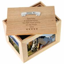 Custom Deceased Horse & Pony Large Oak Keepsake Memorial Photo Frame Memory Box