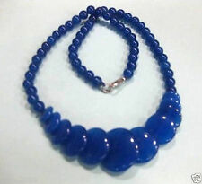 """Round&Coin Beads Necklace 17""""Aaa Beautiful Natural Blue Jade Gemstone"""