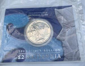 2003 Royal Mint Britannia 1oz Solid Silver Coin With Presentation Card