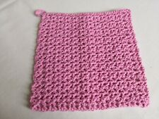 Handmade Crochet Face Wash Cloth Flannel WI Home Cotton Blend Pink Ecofriendly