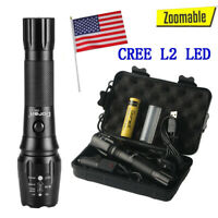 50000lm USB Shadowhawk Rechargeable Tactical Flashlight L2 LED Zoomable Torch