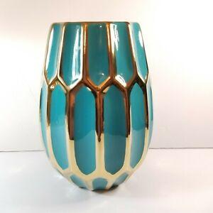 "Sagebrook Home 10"" Decorative Vase Turquois Blue Teal Aqua & Gold Metallic Glam"