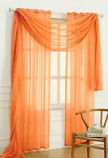 "Empire Home Solid Sheer Voile Scarf Valance 216"" Long Window Scarves 25 Colors"
