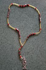 #203 ROSARIO SANTA MUERTE rosary acerina - red - gold color preparado atracción
