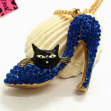 Hot Crystal Cute Blue Cat Sexy High Heels Pendant Betsey Johnson China Necklace