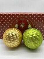 Christmas Holiday Ornaments Set of 6 Quilted Look with Glitter- Green and Yellow