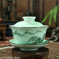 hand painted gaiwan under glaze mountain river print fish caving tureen saucer