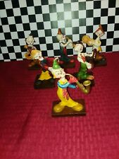 Vintage Set Of 6 Resin Clowns With Instruments On Wood Bases