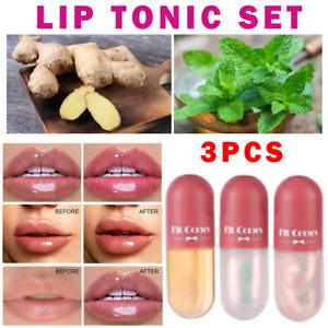 3Pcs Natural Lip Plumper Set Lips Plumping Balm Care Serum Enhancer Plump Gift