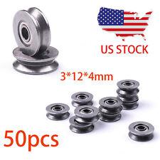 50Pcs Metal V Groove Guide Pulley Rail Ball Bearings Wheel 3*12*4mm US STOCK