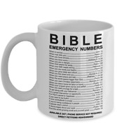 Bible Emergency Numbers - White Mug - Coffee Mug Tea Cup Gift