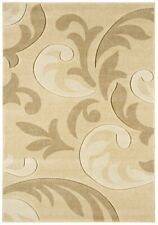 Cream Contemporary Floral Rugs Petal Flower Design Traditional Living Room Rug