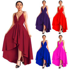 Women Deep V Neck High Low Wedding Pageant Cocktail Backless Dress Prom Gown