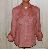 Laura Ashley Terracotta Long Sleeve Linen Blouse Size S