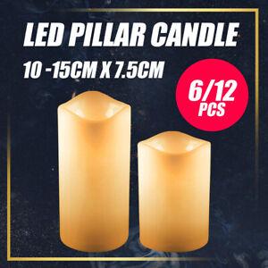 6/12PCS Flameless LED Pillar Candle Lights Battery Operated Home Wedding Decor