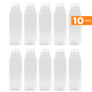 16 Oz  Plastic Juice/Dressing PET Square Container w/ White Tamper Evident Caps