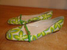 Women's Green Patent Leather TAPEET VICINI Summer Spring Ballet Flats Sz-11/41