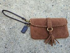 Coach Soho Suede Fringe Women's Skinny Clutch Wristlet Wallet - Brown Leather