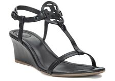 Tory Burch Black Miller Wedge Sandals Size 8 Excellent Condition With Bag & Box