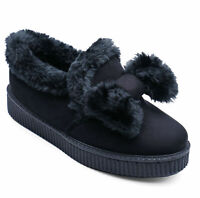 LADIES BLACK FLAT SLIP-ON PLIMSOLL FUR PUMPS CASUAL COMFY LOAFERS SHOES UK 3-8