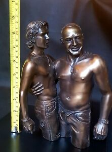 Stunning Large Heavy Bronze Naked Erotic Gay Art Male Men Signed Statue Figurine