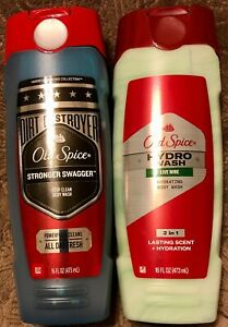 2 Bottles Old Spice Body Wash 1x Stronger Swagger 1x Hydro Wash Live Wire 16 OZ