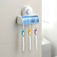 New 5 in 1 White Bathroom Decor Stong Vaccum Suction Wall Toothbrush Holder LW