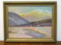 OIL ON BOARD SNOW SCENE PAINTING-SIGNED E.L. GILDER-AFTER NE. ARTIST R.F. GILDER
