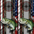 Cornhole Wraps - Bass Fishing Cornhole Decal with American Flag  Oak Tree Camo