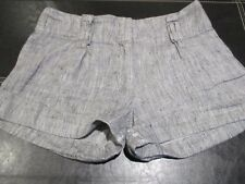 PRIMARK PRETTY LIGHT GREY 100% LINEN SHORT TURN UP SHORTS AGE 13 - 15 UK 8 - 10