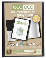 eco-eco A5 50% Recycled 60 Pocket Black Folder Presentation Display Book