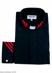 Clergy Shirt Two Tone Long Sleeve French Cuff Tab Collar (Black/Red Stripe)