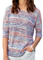 UK Sizes 16-38  Ladies Striped Blue Coral Jumper Sweater EU 44-64