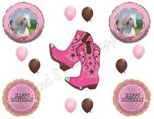 Heart My Horse & Pink Cowgirl Boots Happy Birthday Party Balloons Decorations