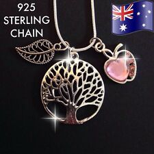 TREE of LIFE Pendant Pink Crystal Heart Charm 925 Sterling Silver Chain Necklace