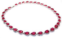 10kt White Gold Filled Ruby Pear Cut 47.36ct Full Round Necklace Free Gift Box