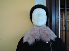 Short pink real lapin fur collar scarf trim strip for hood jacket parka furstrip