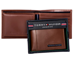 Genuine New Tommy Hilfiger Tan Leather Men Cambridge billfold wallet Authentic