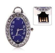 USB Schmuck Speicher Stick Speicherstick Uhr Anhänger Blau Royalblau 4 GB