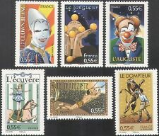 France 2008 Circus/Lion/Clowns/Horse/Juggler/Trapeze/Animation 6v set (n42491)