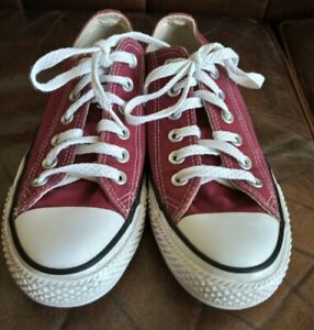 CONVERSE ALL STAR CHUCK TAYLOR LOW TOP TRAINERS MAROON (BURGUNDY,RED) SIZE 5